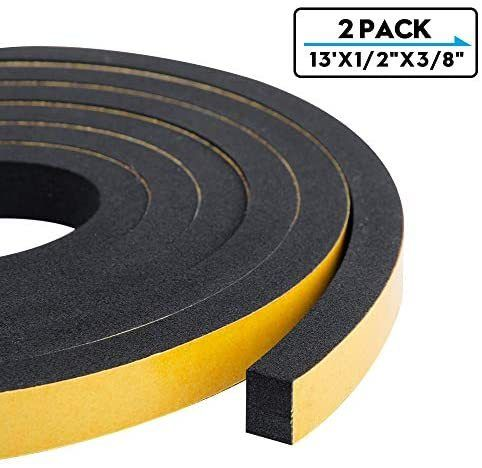 Foam Weather Stripping 2 Rolls 1 2 Inch Wide X 3 8 Inch Thick High Density Sound Proof Insulation Closed Cell Foam Seal In 2020 Closed Cell Foam Weather Stripping Foam