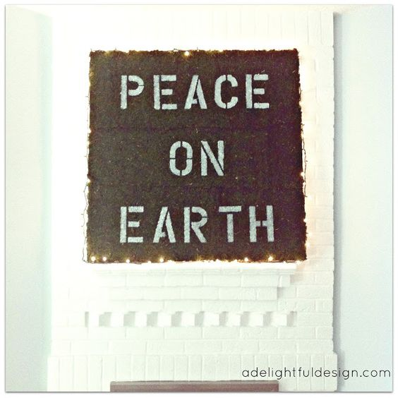 peace on earth, painted moss Christmas art | A Delightful Design