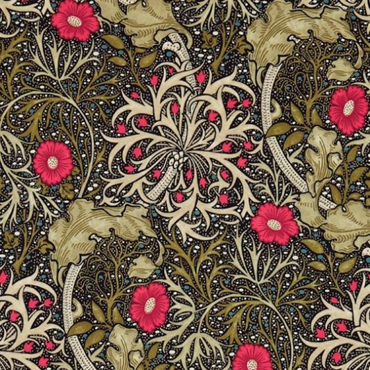 Morris Seaweed Fabric From the Morris & Co collection 'Morris Seaweed' design in ebony and poppy shows a free flowing and sinuous pattern which captures the underwater movement of plants.: