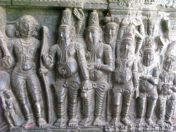 Meeting of Rama and Parasurama. On this bas-relief the sages and courtly figures are depicted.: