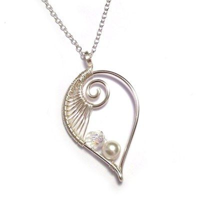 Sterling Silver Wire Weave Leaf Bridal Necklace
