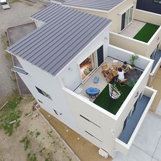 街中モデルハウス3階スカイリビング ドロンからの空撮 Nakaohome