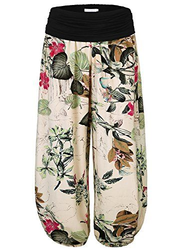 Women's Floral Print Elastic Waist Harem Pants. So comfy and a pretty fabric pattern!