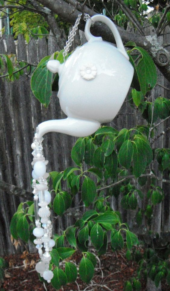 Tea Pot Garden Decor, Yard Art, Hanging Garden Art, Beaded Sun Catcher, Wind Chimes, Recycled Glassware, Repurposed, Upcycled,…: