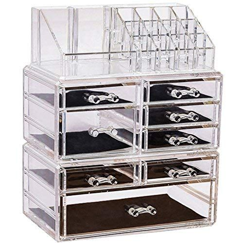 Sooyee Clear Acrylic 6 Tier 8 Drawers 16 Grid Stackable Large