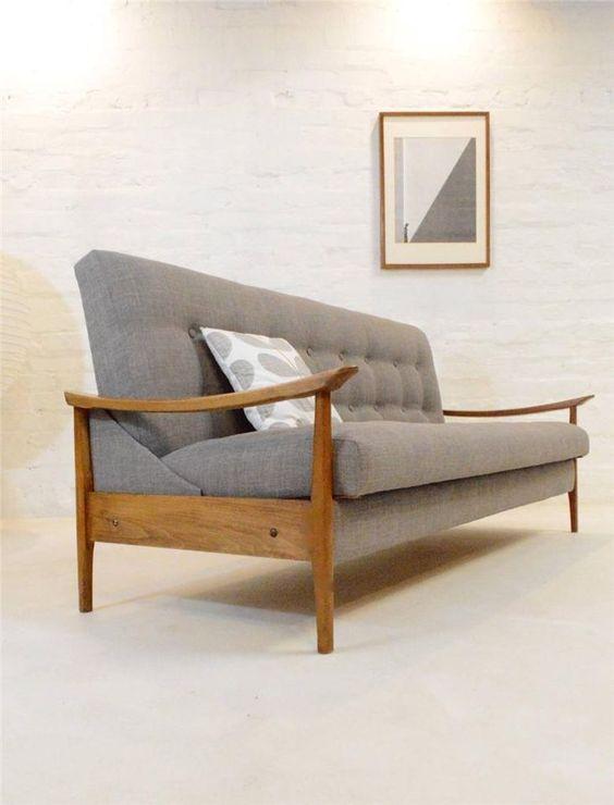 Mid century modern sofa bed guy rogers danish era retro for Sofa bed 60s