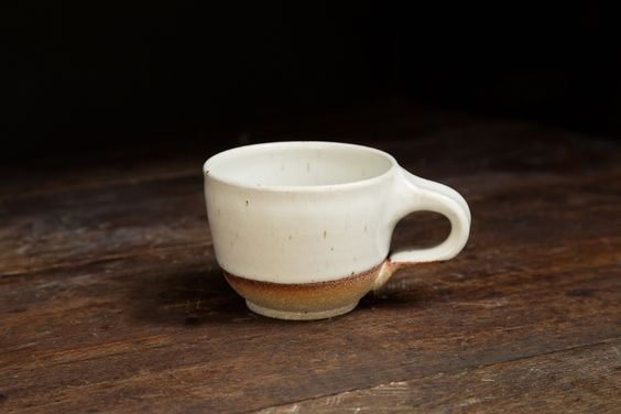 Our Latte cup with lug style handle.  Part of our Cafe Line, developed in collaboration with State's Coffee.   #coffee #statescoffee #brew #latte #pottery #stoneware #cafe