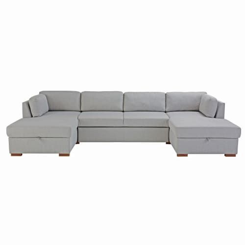 Light Grey 7 Seater U Shaped Sofa Bed Maisons Du Monde U Shaped Sofa Bed U Shaped Sofa Sofa Bed