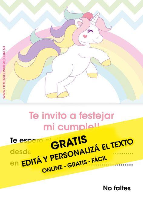 Tarjeta De Cumpleaños De Unicornio Para Imprimir Editá El