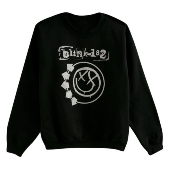 Blink-182 Smiley Logo Crew Pullover | Hot Topic ($25) ❤ liked on Polyvore featuring tops, hoodies, sweatshirts, shirts, sweaters, crewneck pullover, crewneck sweatshirt, logo sweatshirts, crew-neck shirts and crew neck shirt