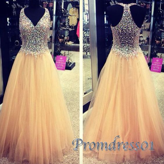 2016 beaded v-neck yellow tulle long prom dress with sparkly sequins top, ball gown, prom dresses for teens #coniefox #2016prom