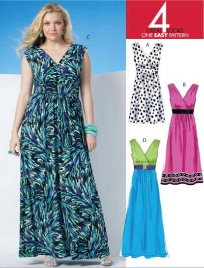 Womens PLUS tamaño patrón de costura vestido - Jersey fácil vestidos de longitudes 3 tallas 18-24