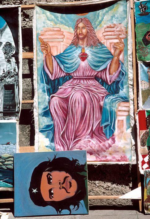 Magnum Photos - A. Abbas 1997 CUBA. Havana. 1997. Jesus with Cuban flag.