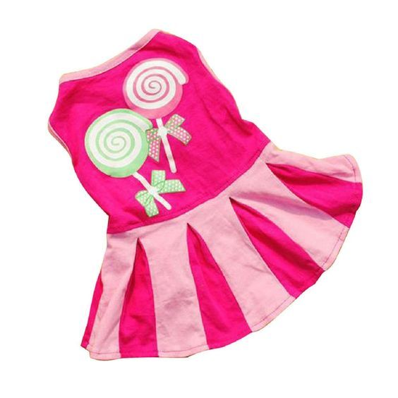 Kingfansion Candy Pattern Puppy Dog Doggie Apparel Clothes Hoodies Skirt Dress *** Continue to the product at the image link.