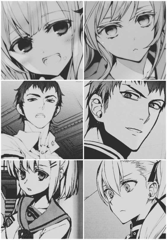 Mahiru Hiragi, Kureto Hiragi and Sangu Aoi (then, now)