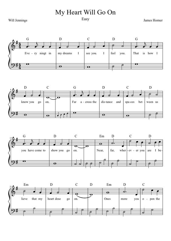 My Heart Will Go On - Easy : Piano Sheet Music : Pinterest : My heart, Heart and Go on