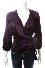 DVF Eggplant Silk Blouse Size 6 $119.00