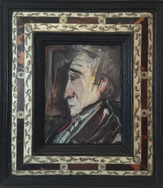 Título: Bolivar  Autor: Alvaro Galindo Vácha  Dimensiones: 12 x 15 cm  Técnica: Óleo sobre tela  Año: 1993  Firmado: Frente y Revés