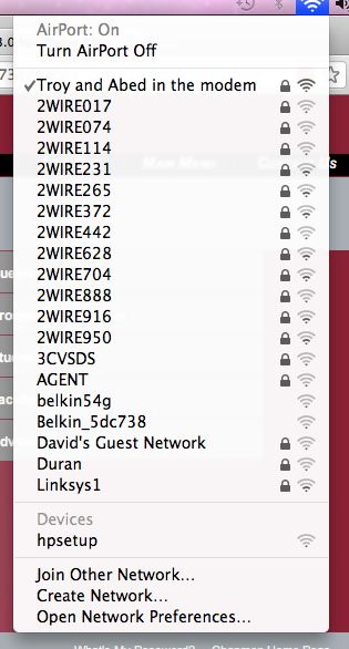 my new WiFi network name
