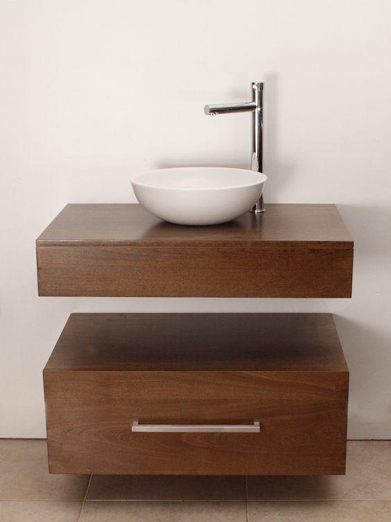 Mueble de ba o aereo con bacha de apoyo ideal para un for Decoracion mueble bano