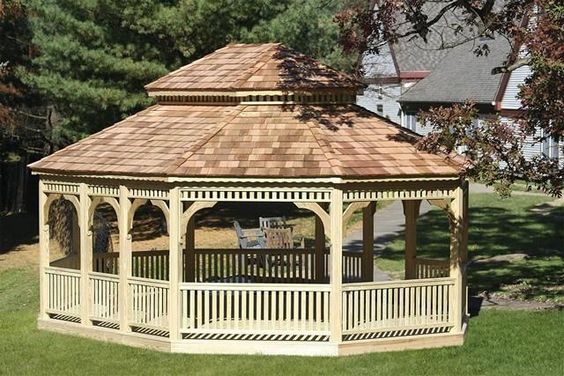 Wooden Oval Gazebo - We delivery fully assembled gazebos throughout eastern Ontario and Quebec. Visit us online for fully price list ncsshelters.com