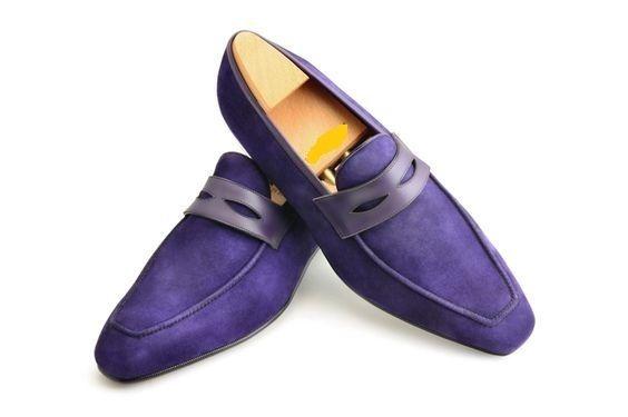 Handmade Men S Original Purple Suede Loafers Slip Ons Shoes For Men S Dress Formal Dress Shoes Men Quality Leather Boots Shoes Mens