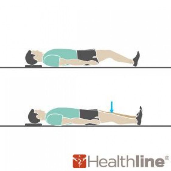 Thigh Squeezes Lie Flat On Your Back And Tighten The Muscles In Front Of Your Thigh By Pushing The Back Of Your Knee Down Toward The Floor