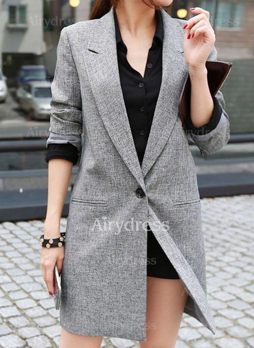 Jofemuho Womens Long Sleeve Formal Slim Solid Business Work OL Blazer Jacket Coat