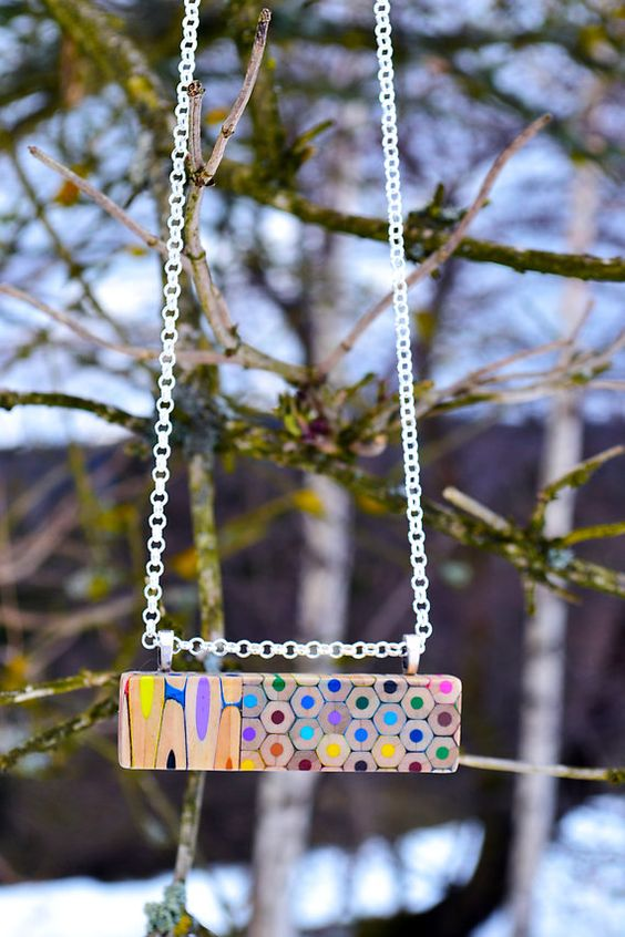Colored pencils necklace rectangle by carbickova on Etsy