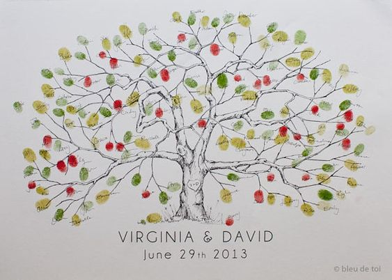 New, Medium Apple Tree Design, The original hand-drawn guest book fingerprint tree (ink pads sold separately)