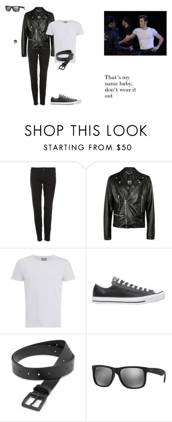 """""""Danny Zuko"""" by phoenix-fashion ❤ liked on Polyvore featuring Dsquared2, Criminal Damage, Oliver Spencer, Converse, COSTUME NATIONAL, Ray-Ban, John Hardy, men's fashion, menswear and Grease"""