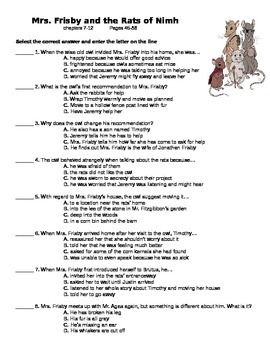 FREE Teacher&#39s Resource Packet for Mrs. Frisby and the Rats of ...