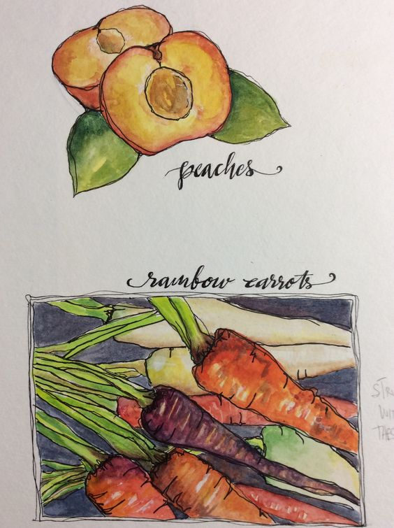 KjAllison unfinished peaches but finished carrots in Delicious Paint with Tracey Fletcher King
