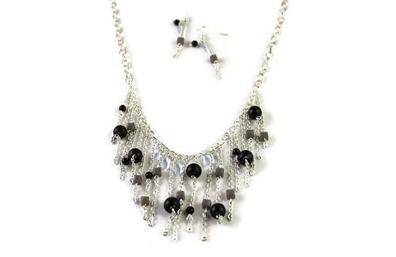 Matte Black & Grey Czech glass beaded Necklace silver by Beauterie
