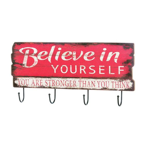 Shop ZOBOSH.com BELIEVE IN YOURSELF WALL HOOK for $15.95 after 20% discount with code zobosh2016. - Don't stop believing that this charming wall decor will help you keep your room organized! Four iron hooks hang from a vintage-style pink sign that reads Believe in Yourself You Are Stronger Than You Think.