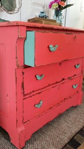 Coral dresser - the beauty is in the details - the turquoise drawers & blue bird drawer pulls. Lovely. <3