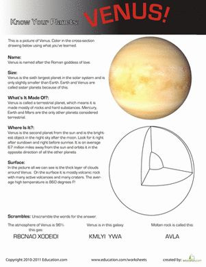 Printables Earth And Space Science Worksheets know your planets venus earth space worksheets and science third grade venus