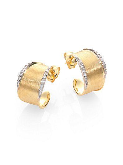 "Marco Bicego Lunaria Diamond & 18K Yellow Gold Hoop Earrings/1"""