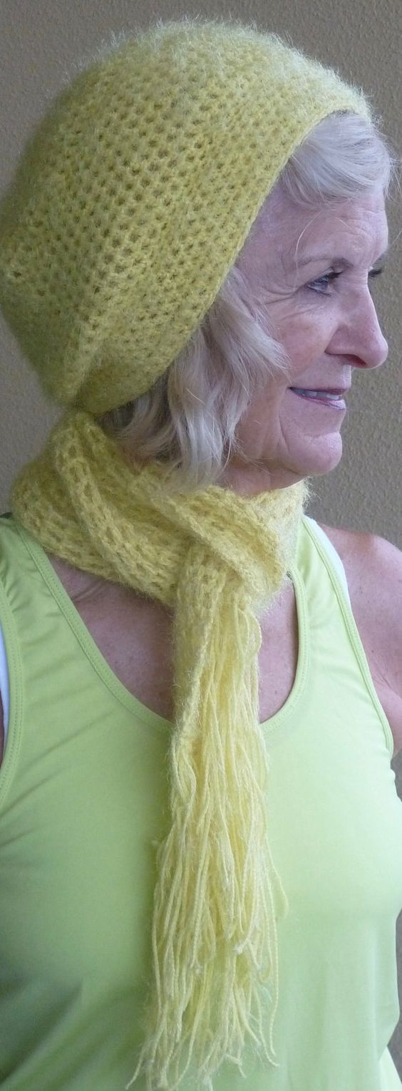 Yellow Hat and Scarf Set Original Handcrafted by hatsbyanne1942