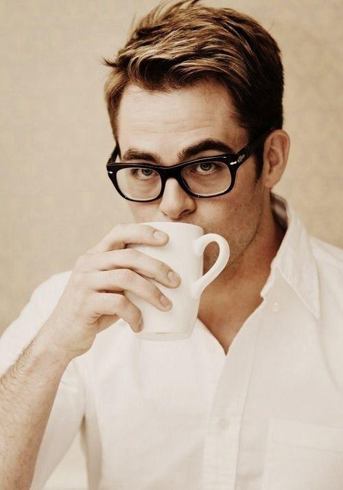 Chris Pine, glasses, crisp white shirt... Perfection…