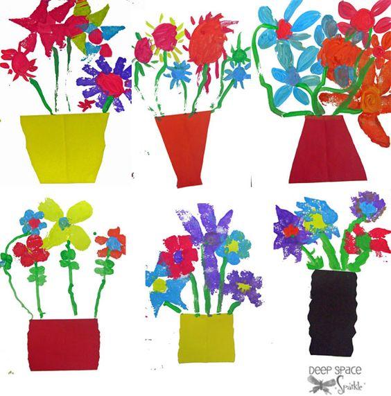 12″ x 18″ white paper, 6″ x 9″ colored paper, scissors, glue stick, old kitchen sponges cut into leaf shapes, plates of colored tempera paint