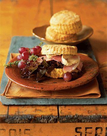 pumpkin biscuits with ham and pumpkin butter