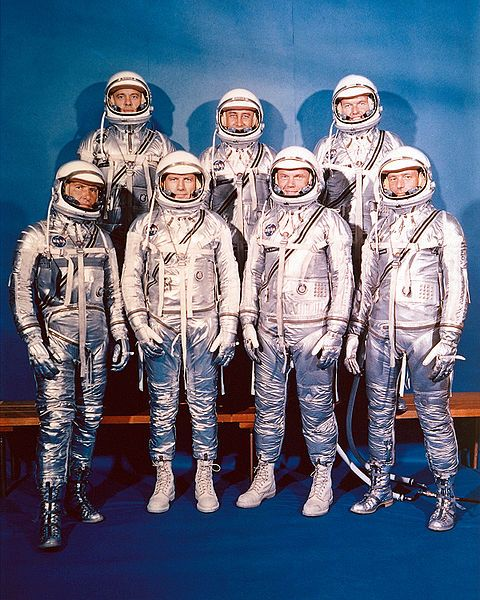 On April 8, 1959 the first astronauts were introduce.  These seven original American astronauts were Alan Shepard, Gus Grissom, John Glenn, Scott Carpenter, Wally Schirra, Gordon Cooper, and Deke Slayton