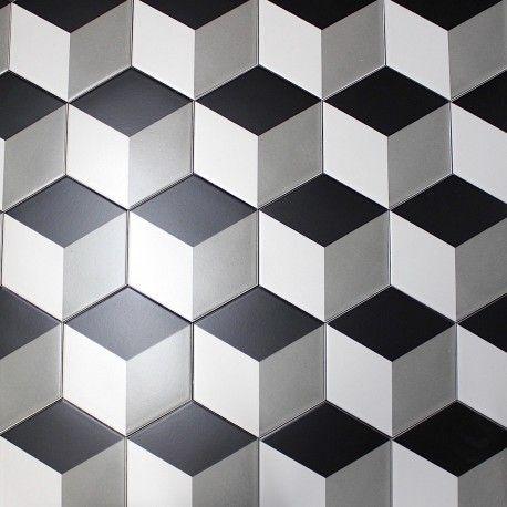 Carrelage Imitation Ciment Noir Et Blanc Hexagonal Cim Cube Avec