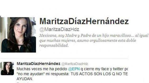 Maritza Díaz Hernández, expareja de Enrique Peña Nieto y madre de uno de sus hijos, reveló el sábado por la noche en su cuenta de Twitter que el candidato presidencial del PRI le ha pedido que cierre sus cuentas en redes sociales.