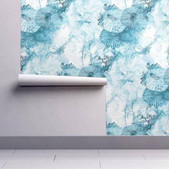 Ocean Themed Wallpaper Watercolor Jellyfish Watercolor Wallpaper Spoonflower Wallpaper