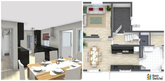Good enough for guests?  Double-stacking oven, water goblets & plant life ready: http://www.roomsketcher.com/products/overview/  3D floor plan with floor level & aerial view for single family home designed in RoomSketcher Business Edition by ComboL