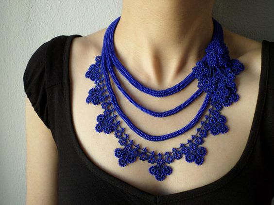 Beaded crochet statement necklace with by irregularexpressions