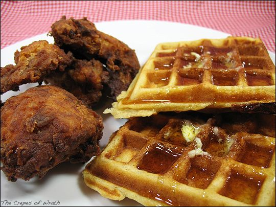 Crispy buttermilk fried chicken with fluffy buttermilk waffles; a classic Southern meal!