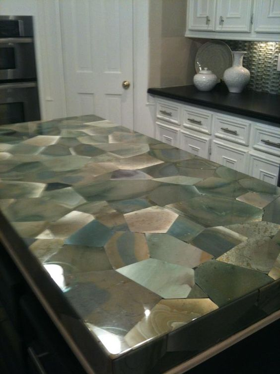 exceptional Most Expensive Kitchen Countertops #6: Gem Stone Resin Countertop New Kitchen Plan Pinterest Canada
